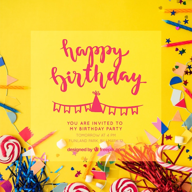 Birthday Invitation With Hand Drawn Lettering Vector Free Download