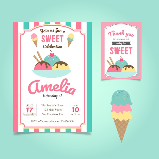 Birthday invitation with ice cream Free Vector