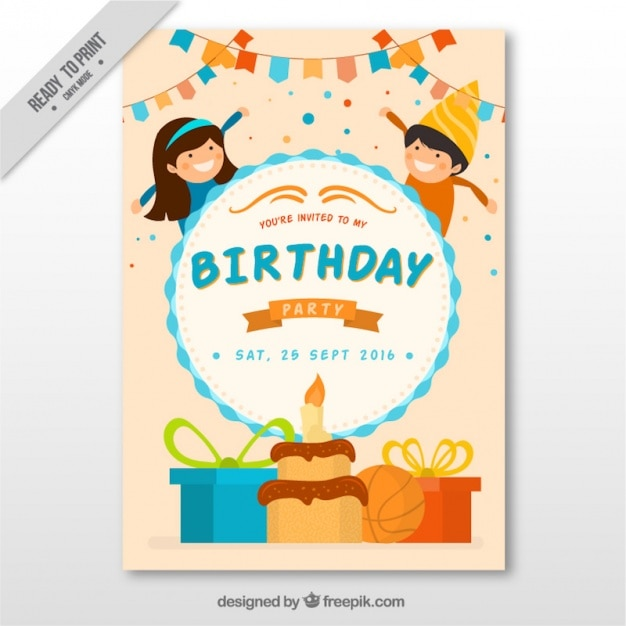 Birthday invitation with lovely kids vector free download birthday invitation with lovely kids free vector stopboris Gallery