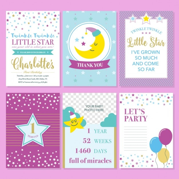 Birthday invitation with a moon and stars Free Vector