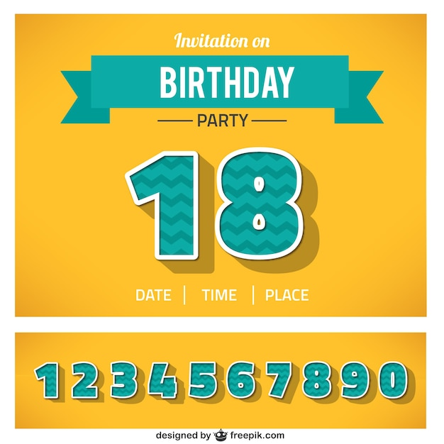 Birthday Invitation With Numbers Vector Free Download - Birthday invitation vector free