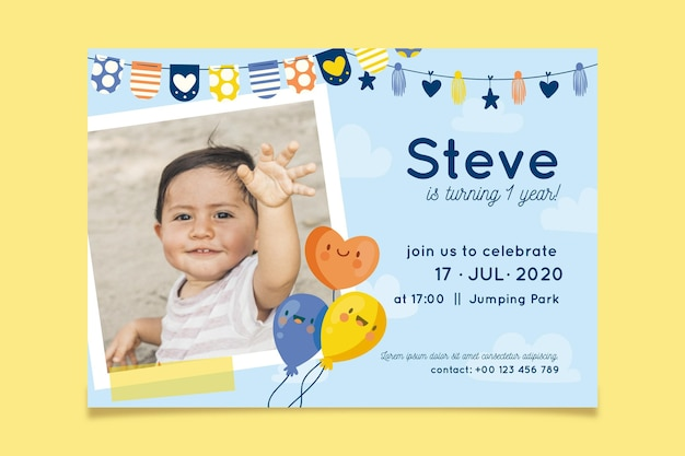 Birthday invitation with photo concept Free Vector