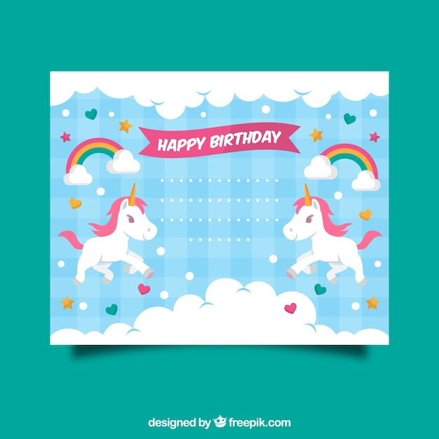 Birthday invitation with a unicorn, clouds and hearts Free Vector