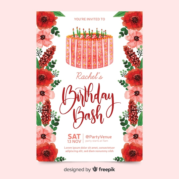 Birthday invitation with watercolour flowers Free Vector