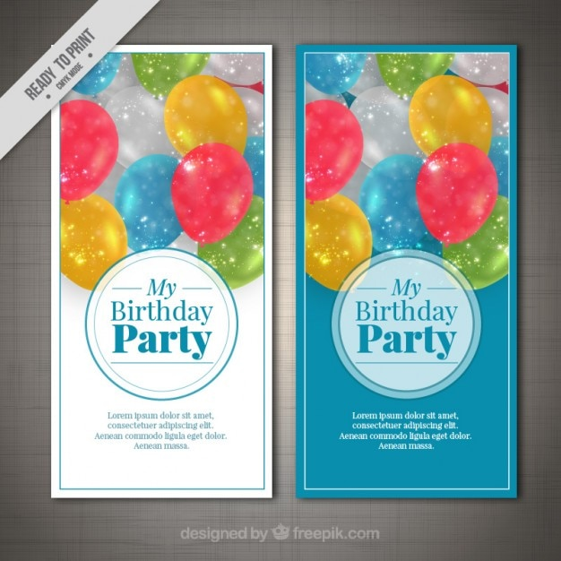 Birthday invitations with balloons Vector  Premium Download