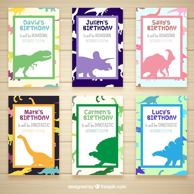 Birthday invitations with dinosaurs Vector Free Download
