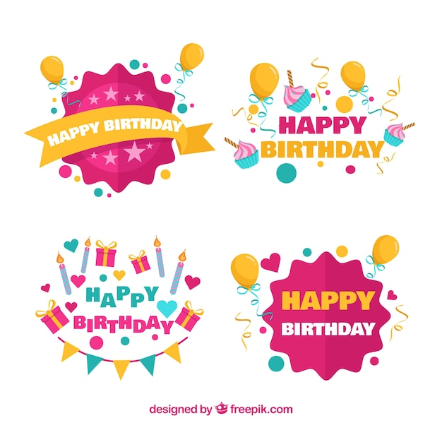 Birthday label collection with balloons Free Vector