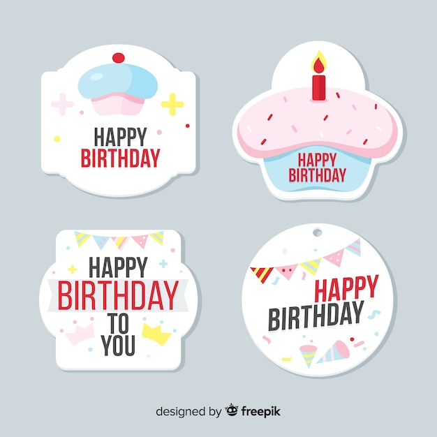 Birthday label collection Free Vector