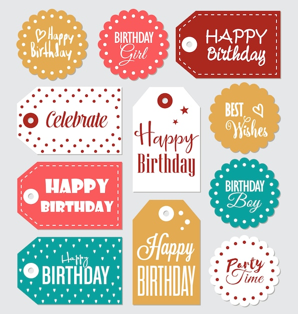 Birthday labels collection Free Vector