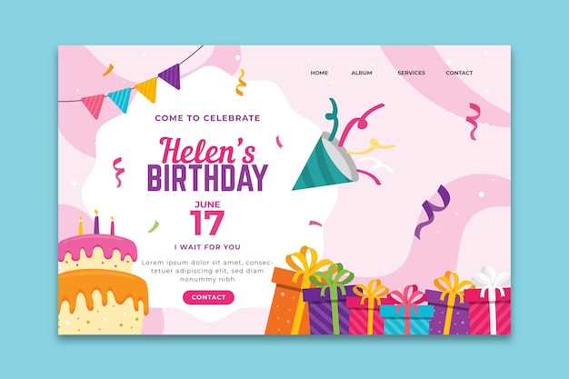 Birthday landing page template Free Vector