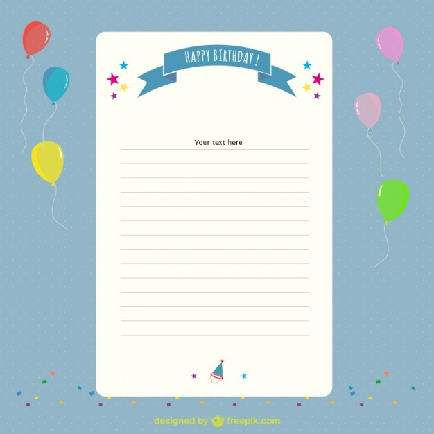 birthday letter and balloons free vector