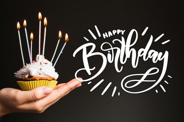Birthday lettering design Free Vector
