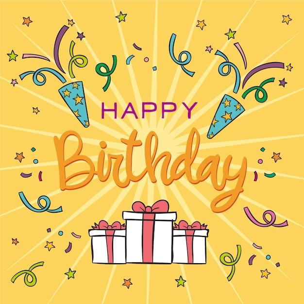 Birthday lettering theme Free Vector