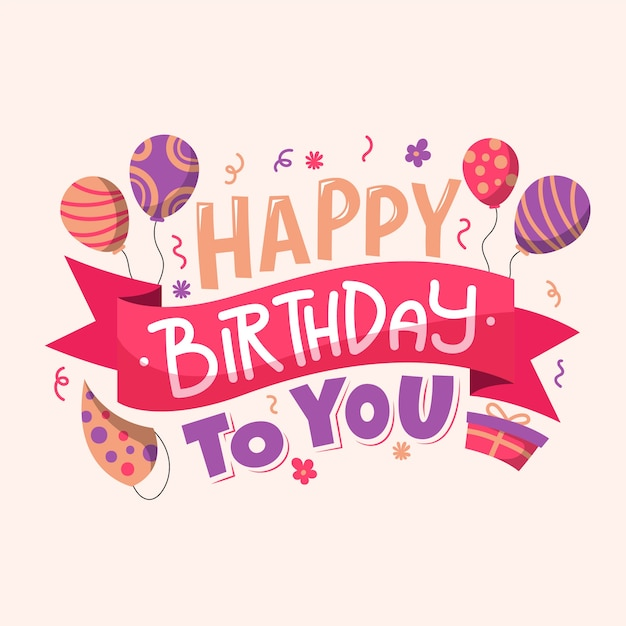 Birthday lettering with balloons Free Vector