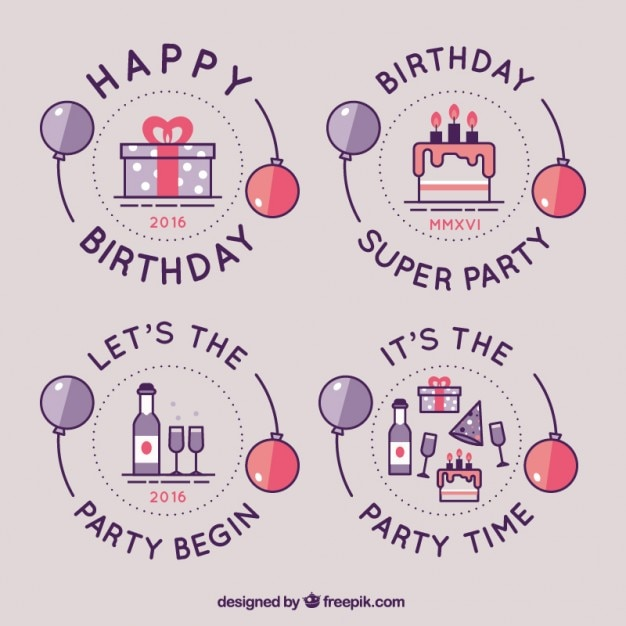 birthday logo collection vector free download rh freepik com birthday logos for men birthday logo maker