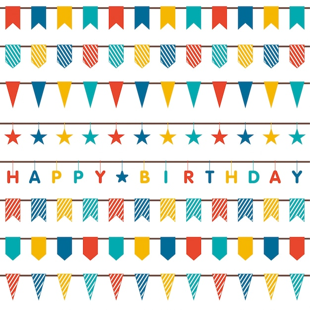 birthday ornaments collection vector free download