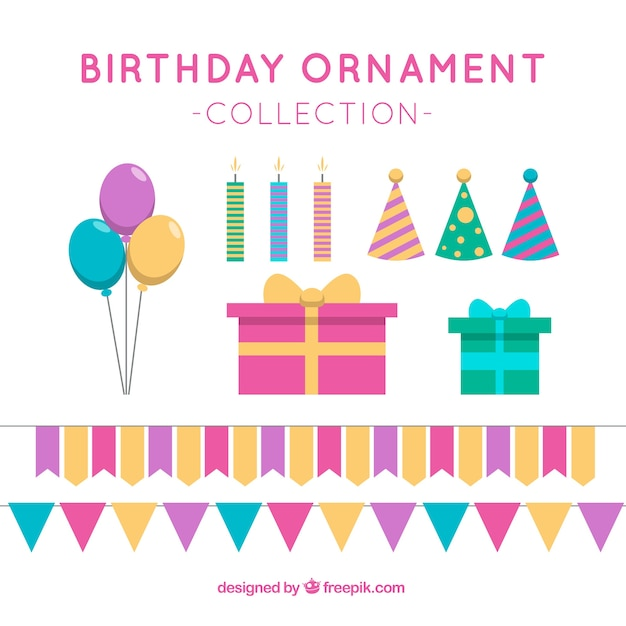 birthday ornaments set vector free download