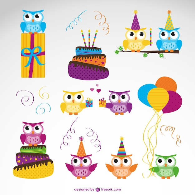 Birthday owls collection Free Vector