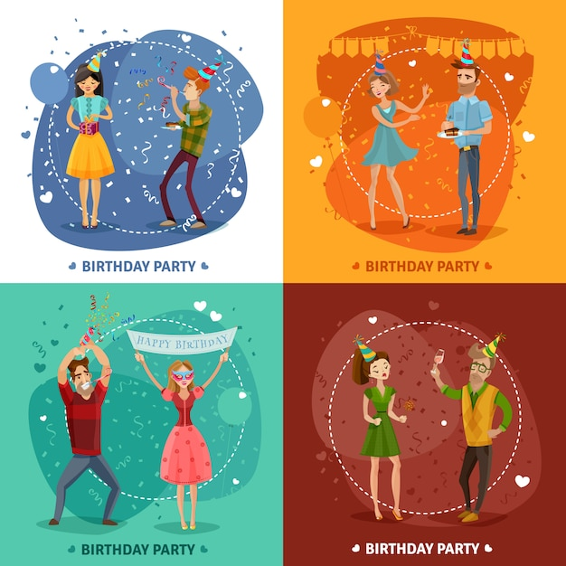Birthday party 4 icons square composition Free Vector