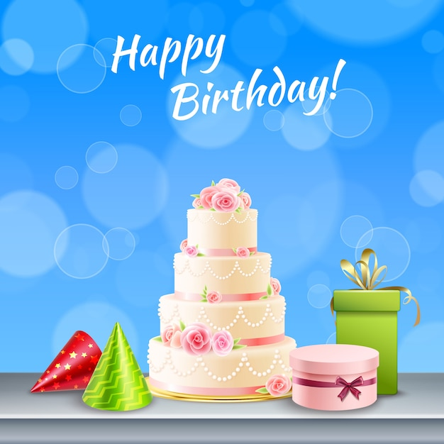 Birthday party accessories realistic Free Vector