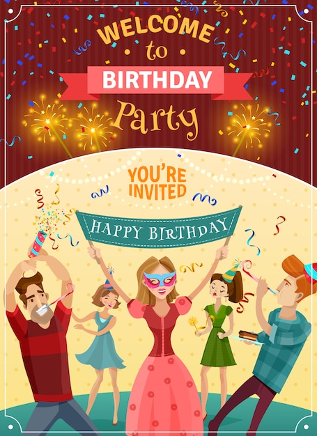 Birthday party announcement invitation poster Free Vector
