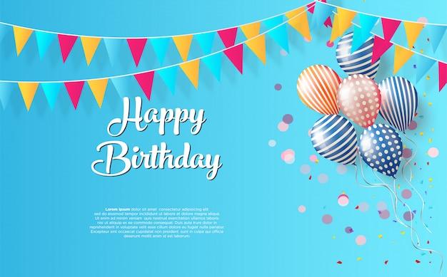 Premium Vector Birthday Party Background With Black Happy Birthday Writing