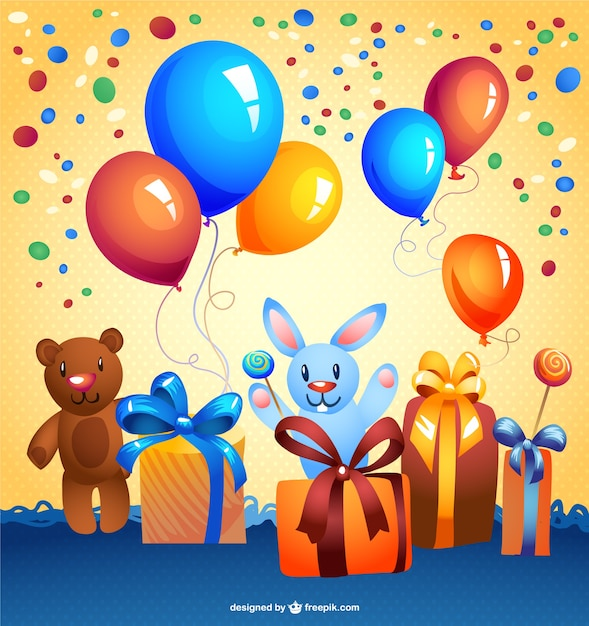 Birthday party background with presents, teddy bears and balloons Free Vector