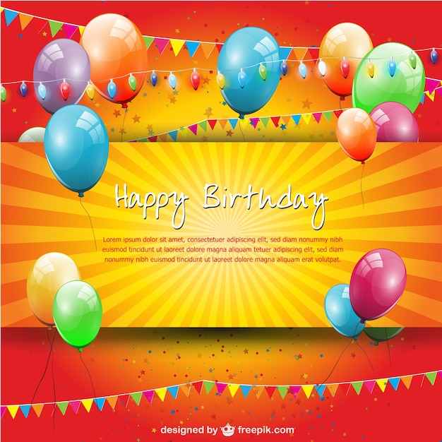 Birthday Party Balloons And Garlands Card Free Vector