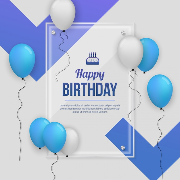 Birthday party celebration background  with realistic balloon Premium Vector