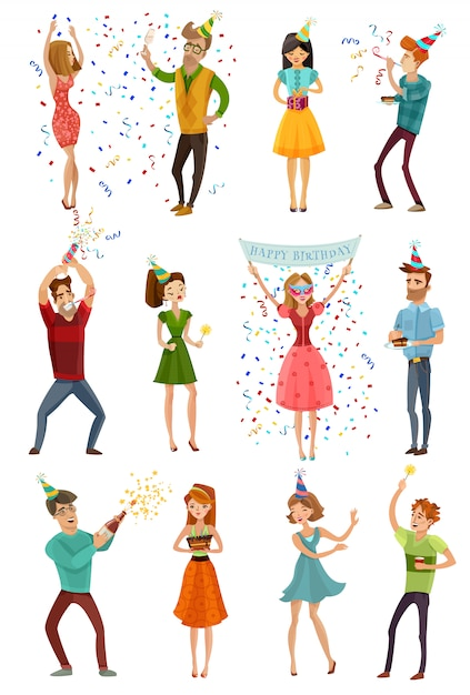 Birthday party celebration funny people set Free Vector