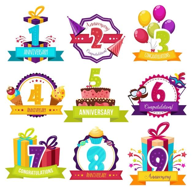 Distintivi colorati festa di compleanno Vettore gratuito