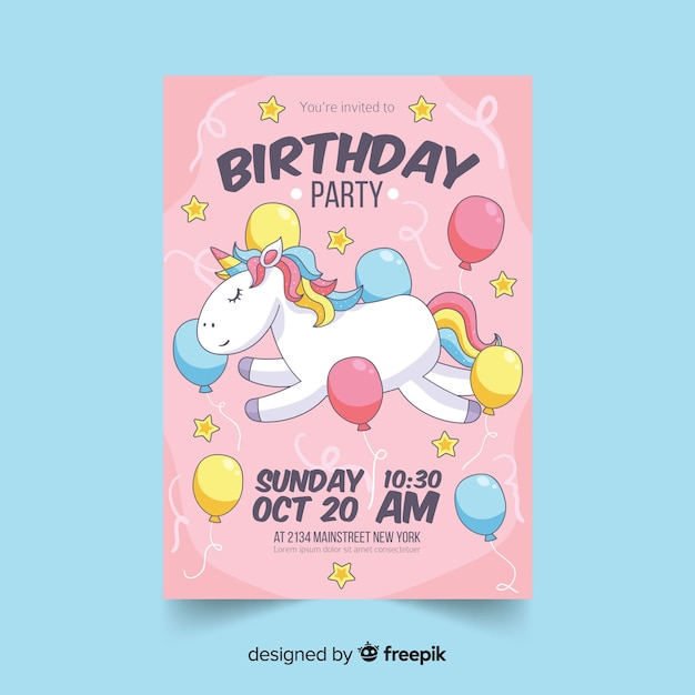 Birthday party colorful invitation Free Vector