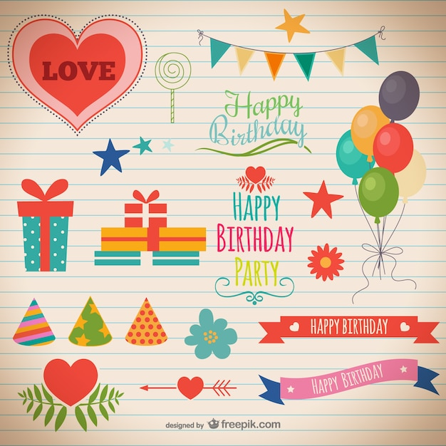 Birthday party decorations Vector | Free Download