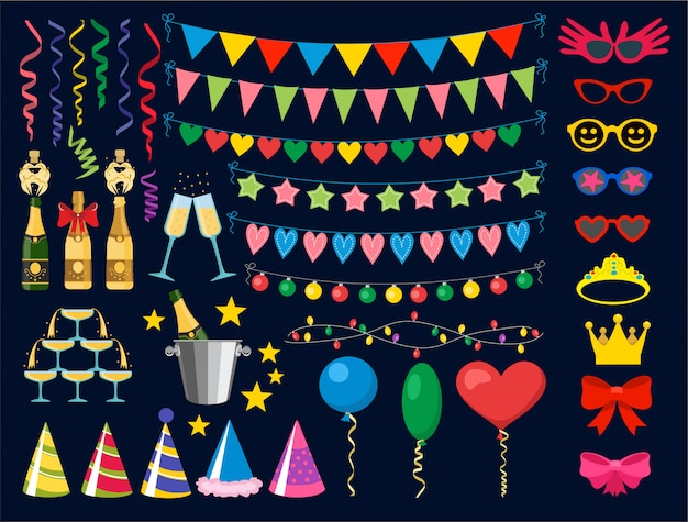 Birthday party design elements. birthday party collection Premium Vector