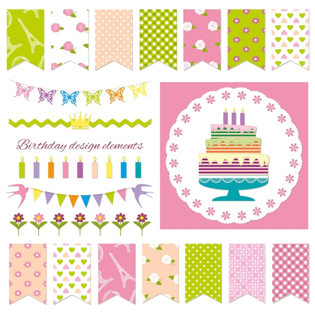 Birthday party design elements. Premium Vector