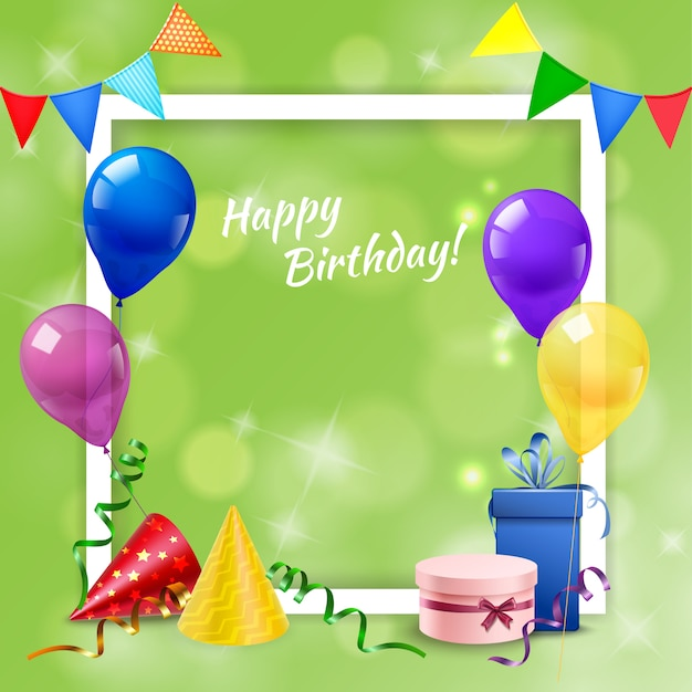 Birthday party frame realistic Free Vector