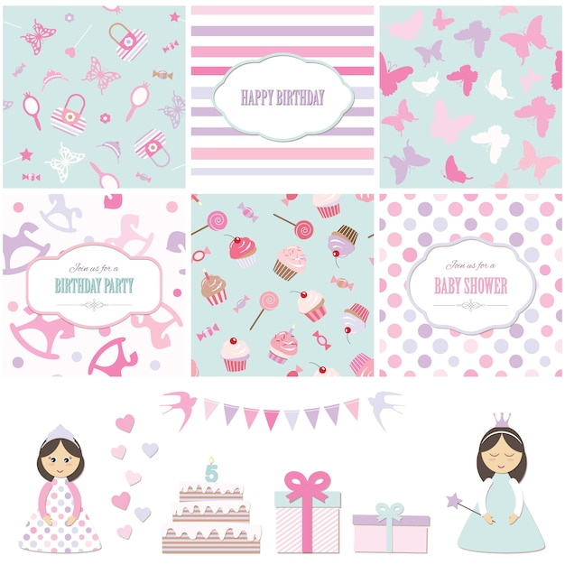 Birthday party and girl baby shower design elements set. Premium Vector