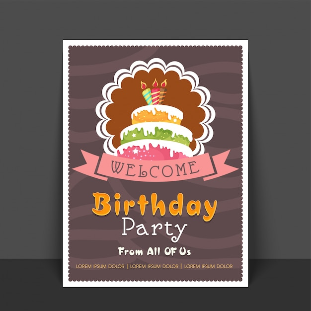 Birthday Party Greeting Card or Welcome Card design with