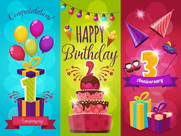 誕生日パーティーの挨拶イラストセット 無料ベクター
