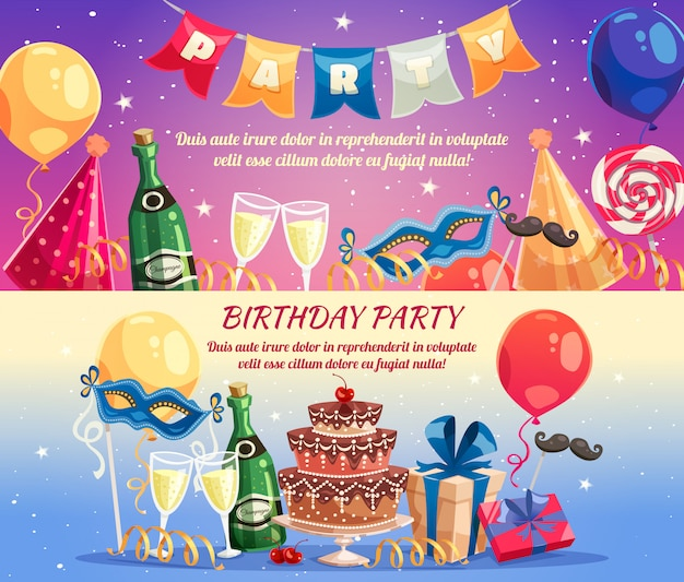 Birthday party horizontal banners Free Vector
