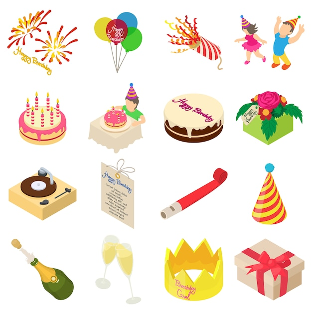 Birthday party icons set. isometric illustration of 16 birthday party vector icons for web Premium Vector