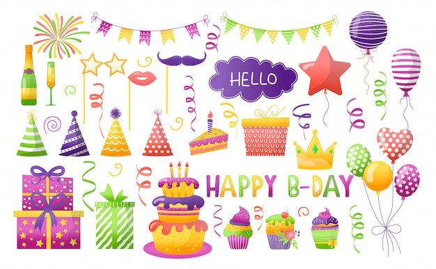 Birthday party illustration set, cartoon element for fun happy anniversary day celebrate, gift decoration icons isolated on white Premium Vector