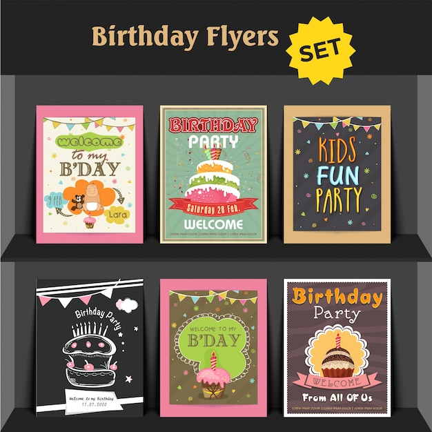 birthday party invitation card or flyers collection vector premium