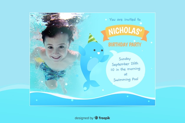 Birthday Party Invitation Card Template Vector Free Download