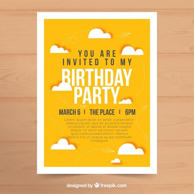 Birthday party invitation in flat design vector free download birthday party invitation in flat design free vector filmwisefo