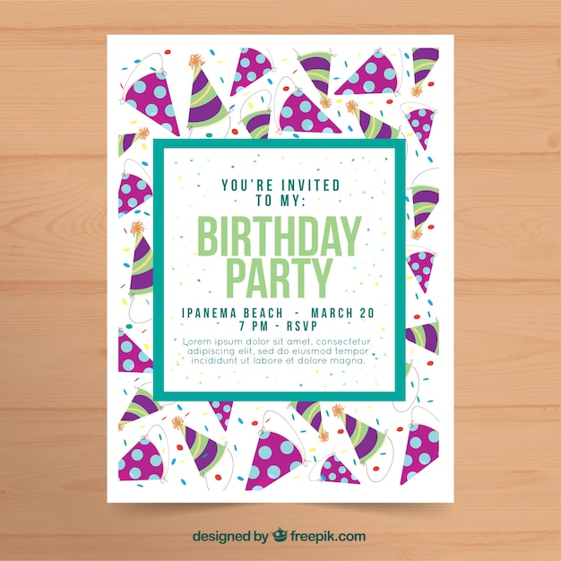 Birthday party invitation in flat design vector free download birthday party invitation in flat design free vector filmwisefo