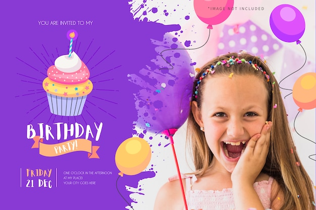 Birthday party invitation for kids with funny cupcake Free Vector