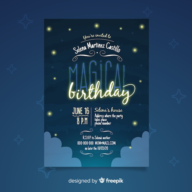 Birthday party invitation template with starry night Free Vector