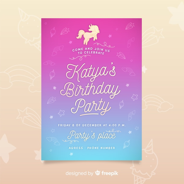 Birthday party invitation template with unicorn Free Vector
