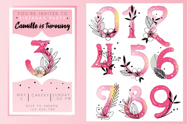 Birthday party invitation template with watercolor numbers Premium Vector